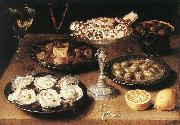 BEERT, Osias Still-Life with Oysters and Pastries oil